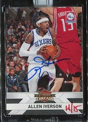 Allen Iverson 2016 Panini Replay 2010 Threads Buyback 76Ers On Card Auto 14/15