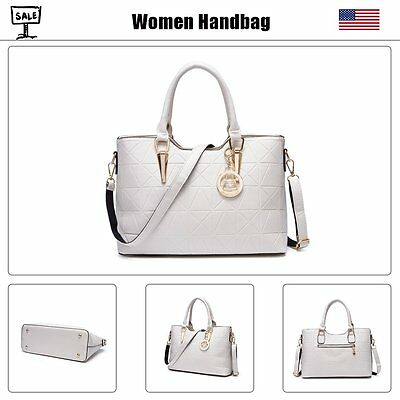 Women Lady Leather Handbag Crossbody Messenger Shoulder Bag  Satchel Tote White