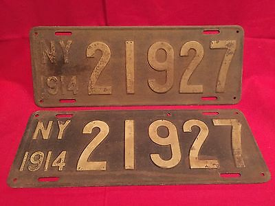 Early NY State 1914 License Plate Pair