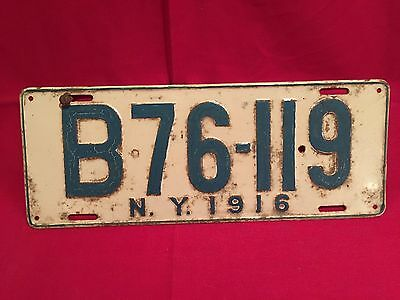 Early NY State 1916 License Plate