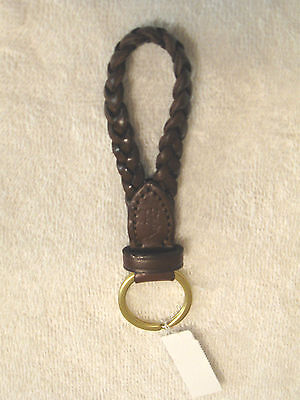 Polo Ralph Lauren Braided Brown Leather Key Ring Chain Fob NWT