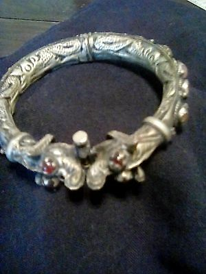 Antique Chinese Silver Dragon Bracelet with Garnet eyes and Agates