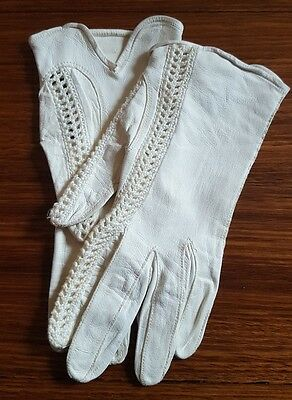 Antique Nappa Leather White Gloves with Crochet Detailing Made in France Wedding