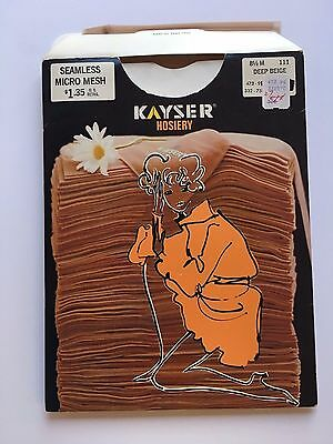 Vintage NWT Sheer Seamless Stockings Hosiery Kayser Deep Beige 8 1/2 RHT