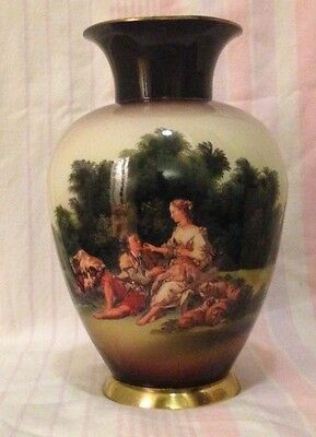 Antique Old Rare Brass Portrait Pottery Figure Painted Vase in NM condition