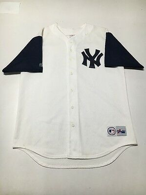 Vintage New York Yankees Plain White Majestic MLB Baseball Jersey Adult Size L