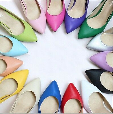 Candy Color Genuine Leather Pointed Toe Shallow Pumps High Heels OL Women Shoes