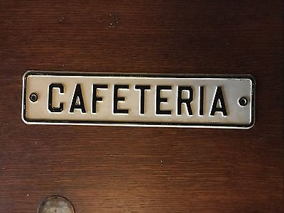 "RARE 1940s OLD ORIGINAL ""CAFETERIA"" EMBOSSED METAL SIGN, INDUSTRIAL, VINTAGE"