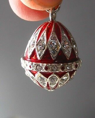 Faberge inspired Russian Egg Pendant /Charm bejeweld Red Easter gift idea 7/8""