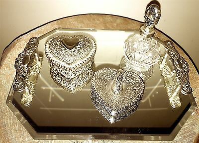 Vanity Set Silver Plated Beveled Mirror Tray, Perfume Bottle, Ring Holder