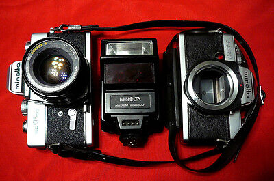 Vintage Wholesale Lot:  Minolta Cameras ( Srt102 & Xg7) & Minolta Flash Maxxum 2