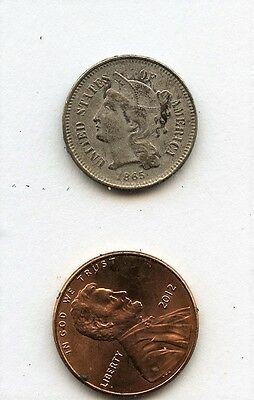 Old 1865 or 1885 Three cent Nickel 3c coin Estate Find