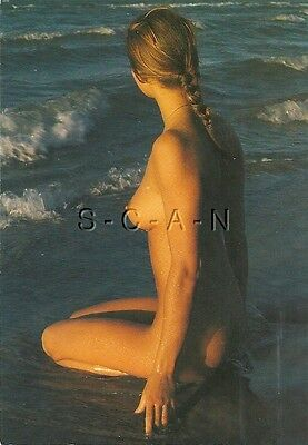 Org Vintage French Nude Pinup PC- Endowed Woman with Braids Sits on Water Edge