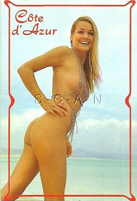 Original Vintage Italian Nude Pinup PC- Blond Woman Wears Fancy Chains- Butt