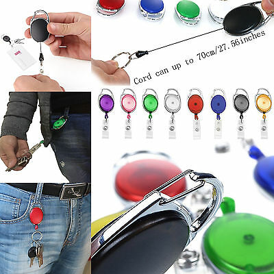 5-50Pcs Retractable Reel Key ID Card Badge Clip Holder Carabiner Card ID Holder