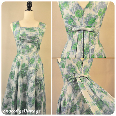 VTG 50s Pleated Polished Cotton Bow Train Cocktail Maxi Dress Blue Green Small