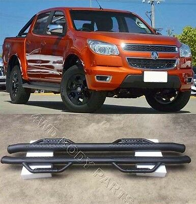 (#806) Holden Colorado 2012 to 2017 Matt Black Steel Side Step Running Boards