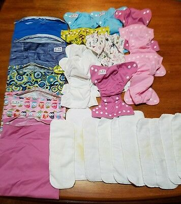 Alva Baby Reusable Cloth Diaper Covers Terry Cloth Inserts 25pc Lot Used