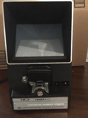 Vernon 808 Super 8 Film Editor Movie Viewer 8MM Film working bulb vintage