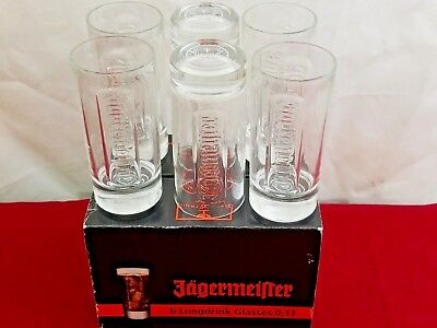 Jagermeister 6 Longdrink Shot Glasses 0.1L Tall Shot Glass Rare Made in Germany