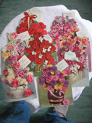 Vtg Lot 8 Shiny Flower Bouquets Unused greeting cards Scrapbooking, Crafting