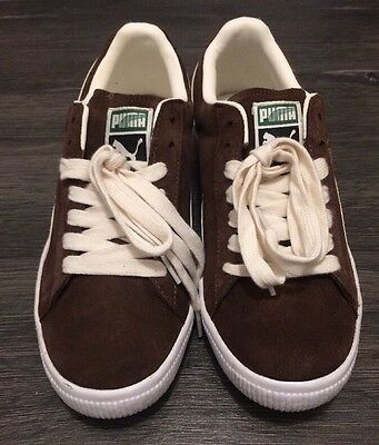 Puma Clyde Brown White Leather Men's Walking Shoes Size 7.5 US