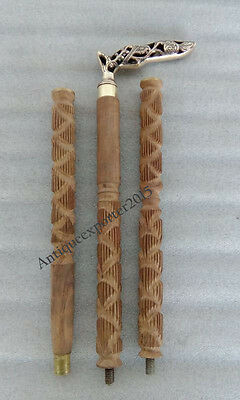 Vintage Brass Handle Victorian Wooden Walking Stick Natural wooden finish Stick