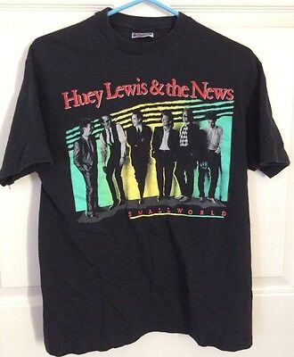 Vintage, Rare Huey Lewis & The News Small World Black Tour Tee Shirt Size Large