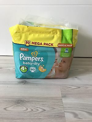 PAMPERS BabyDry Taille 4+ (9-18kg) - 80 couches