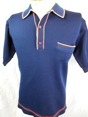Vintage 1960s 70s Navy Blue Polyester Mod Style Polo Shirt Red White Trim M-L