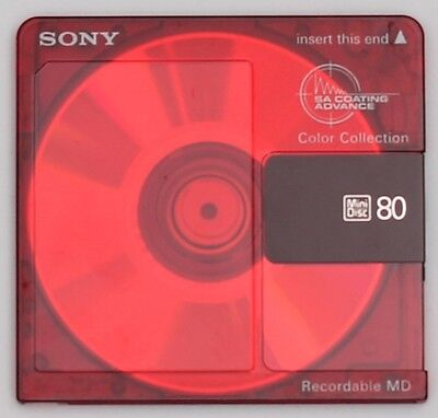 Genuine SONY 'Color Collection' Red Recordable MiniDisc 80 Minutes (x1) w/ Case