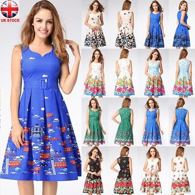 Summer Womens Vintage Floral Sweet Prints Party Skater Midi Dress UK Size 8-20