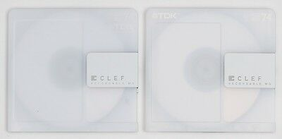 Genuine TDK 'CLEF' White Recordable MiniDiscs 74 Minutes (x2) w/ Cases