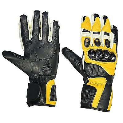 Leather Motorcycle Gloves Thermal Carbon Knuckle Shell Waterproof