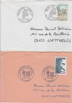 Cycling Bicycles France 2 postmarks on covers