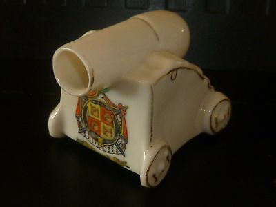 WW1 Arcadian Crested China Model of a Trench Mortar. Crest of St Ives