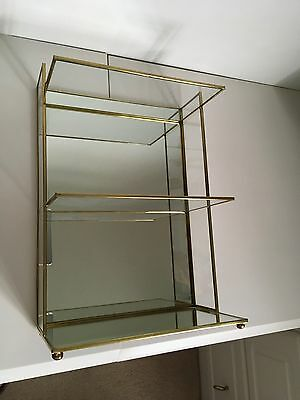 Vintage Brass Glass and mirrored Display /Curio Shelf stand.