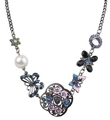 Vintage Flower Women Crystal Pendant Choker Statement Pearl Bib Collar Necklace