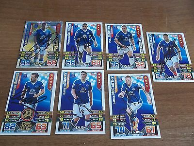 7.Everton Autographs, 7 Signed Match Attax Cards