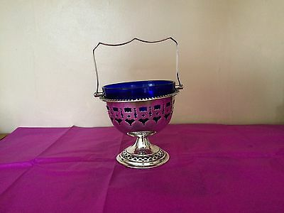 Sliver sugar bowl with blue glass insert