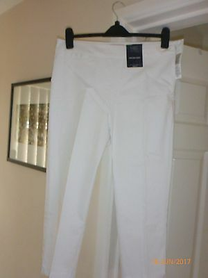 M&S white tapered crop trousers size 12