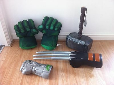 Superhero hulk smash hands and dr doom glove and wolverine glove all make sounds