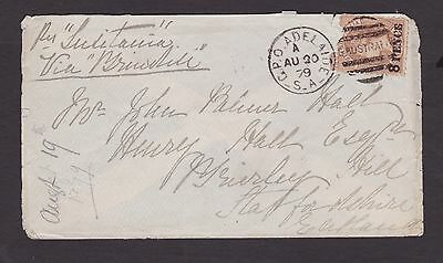 SOUTH AUSTRALIA SCARCE 1879 9d Brown SURCHARGE ON COVER SCOTTLAND SG 119 (DF12)