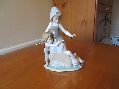 Lladro Figure Girl Protecting Boy From Goose Excellent Condition