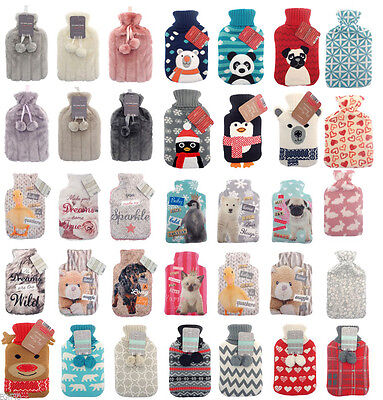 Brand New Large Hot Water Bottle With Beautiful Cover 1L - 2L Different Colours