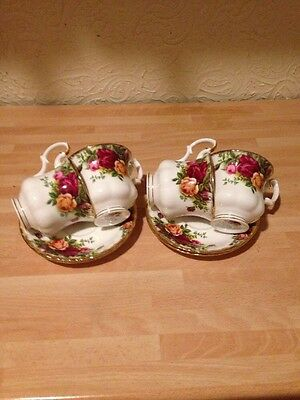 Royal Albert Old Country Roses Coffee Cups & Saucers X 4