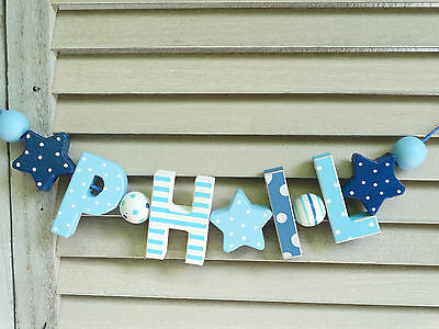 """""""phil"""" Wooden Door Sign Plaque Baby Shower Gift Nursery Decor Name Personalized"""