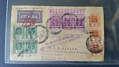 Ceylon Madras - KArachi 1st flight cover with WAR STAMP AIRMAIL redirected cover