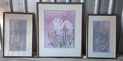 Cross stitch Tapestry - set of three framed pieces