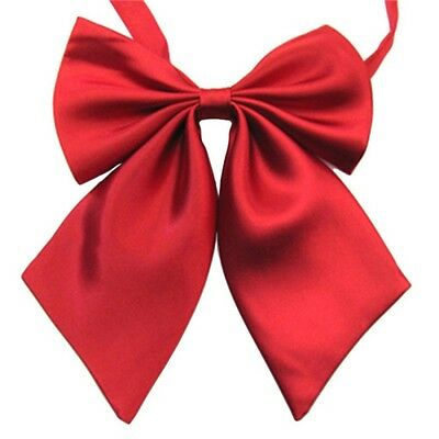 Womens Girls Fashion Banquet Party Solid Color Adjustable Bow Tie Necktie Red